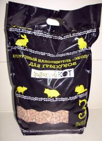Наполнитель «Золотой кот» для грызунов и кроликов выпускается в выпускается в виде прессованных гранул (3 литра).